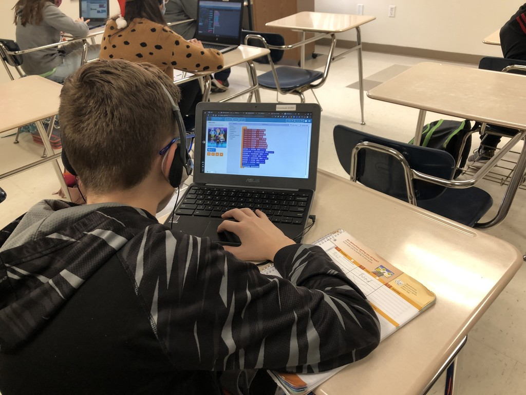 Today Mrs. Coziar's 7th grade math classes participated in the annual worldwide Hour of Code, where students experience computer coding. Students chose different topics of interest to code, such as Minecraft, Flappy Bird, Dance Party, Star Wars, Angry Birds, and sports games. Students can experience this at any time by going to code.org at home!
