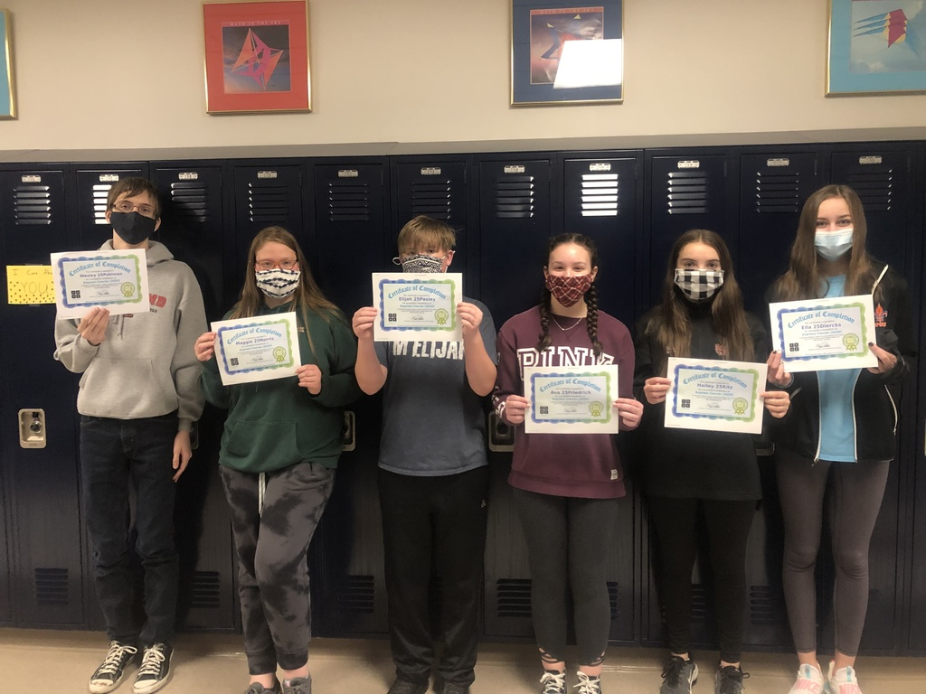 Earning top recognition for most completed levels were Ella Dierks (234), Hailey Ritz (148), Elijah Pasley (169), Wesley Pohlman (219), and Maggie Norris (126). Completing the most lines of code were Will Jansen (5587) *not pictured, Hailey Ritz (1343), Elijah Pasley (3669), Ava Friedrich (2762), and Maggie Norris (1766).