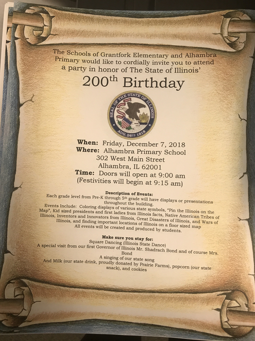 Happy 200th birthday Illinois! You're invited to our birthday party on December 7th. Come celebrate with Alhambra and Grantfork students and staff!