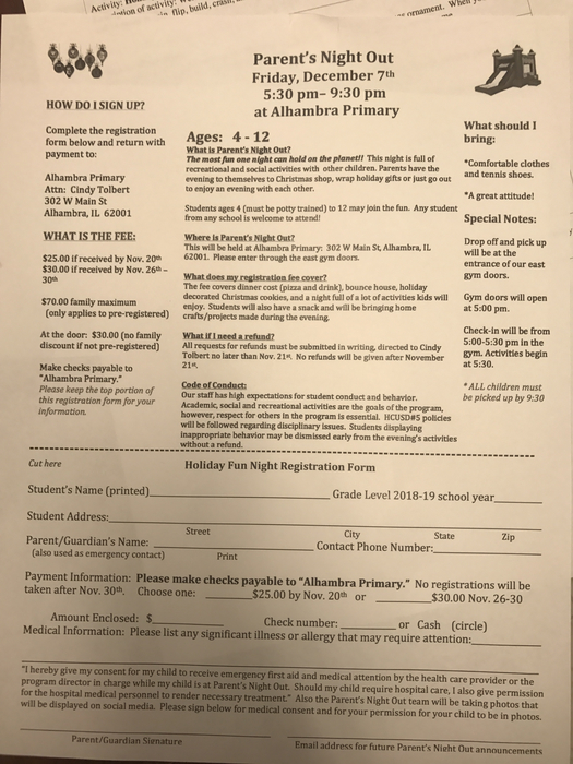 Parents Night Out Registration Form