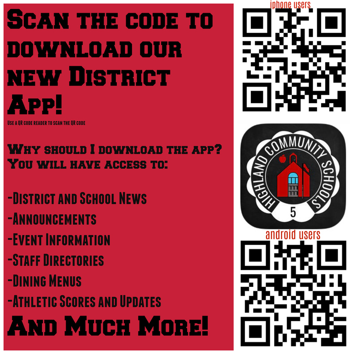 QR code to download new district App!