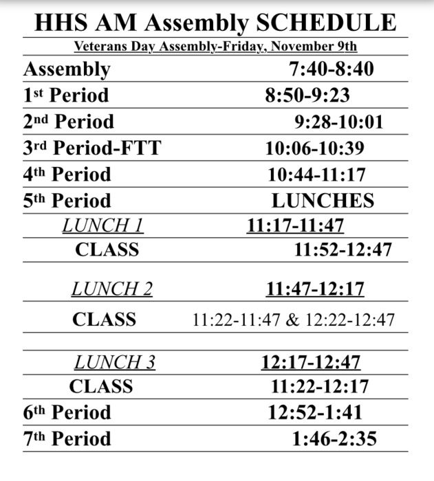 Assembly Schedule Nov 9