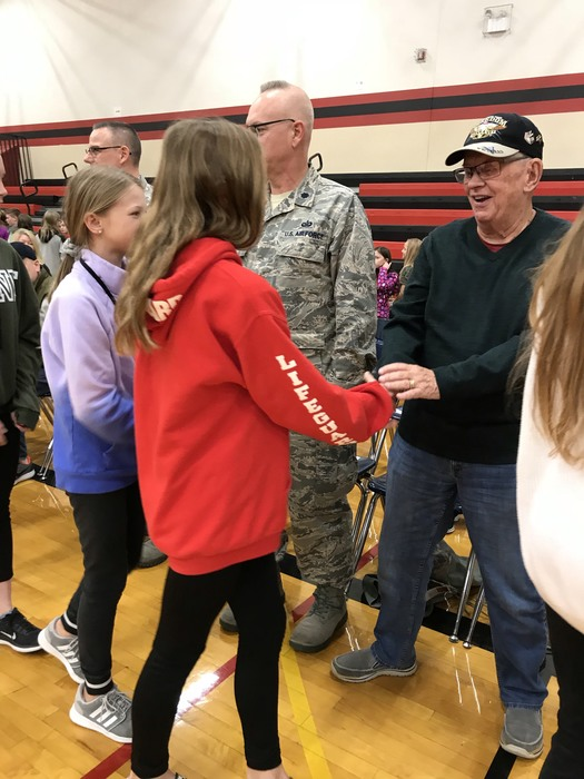 Students shook hands and said thank you to our veterans.