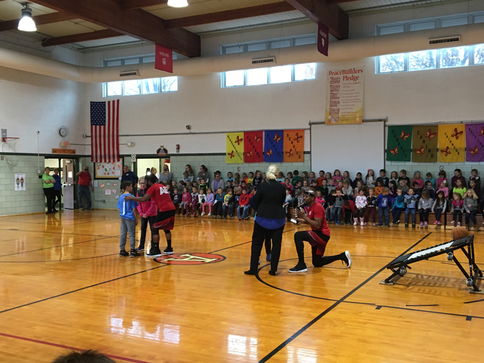 Dance-off between students and Mrs. Tolbert and Mrs. Lewis