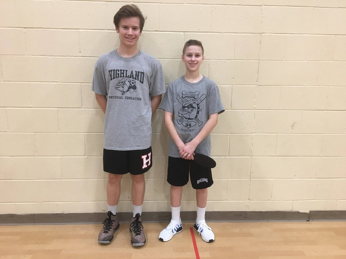 P1 Ping pong 8th grade 1st place Caleb F.  2nd place Noah R.