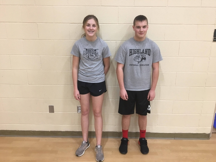 P7 Ping pong 8t grade 1st place Maggie G.  2nd place Travis P
