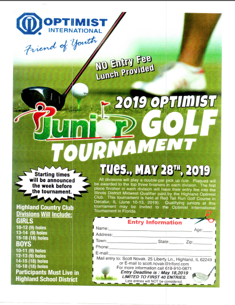 Optimist Jr. Golf Tournament Entry Form