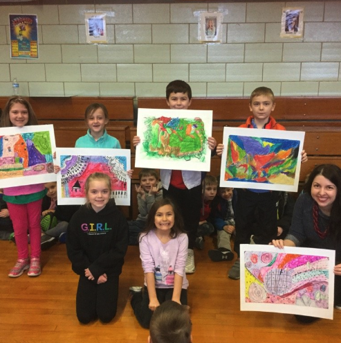 Second graders recognized for their artwork that was submitted to St. Louis Symphony's Picture the Music contest.