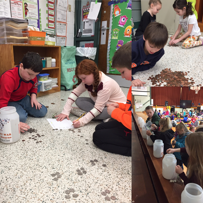 Our annual Penny War began today! Second graders at AP are counting the coins to practice counting money!
