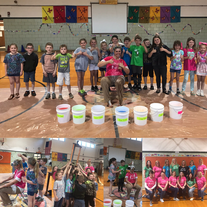 Today was the closing ceremony for our Take the Challenge 2019! The 2nd graders in Mrs. Lewis' class won the no screens challenge this year and were given the opportunity to dump slime on Mrs. Tolbert as their reward!