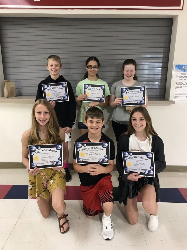 Map War Masters (Perfect scores on all 22 Map War Quizzes!) Front: Lauren M., Brayden B., Reece B.; Back: Trey K.,Sabrina O., Taylor D. (Not pictured: Jacob L.)