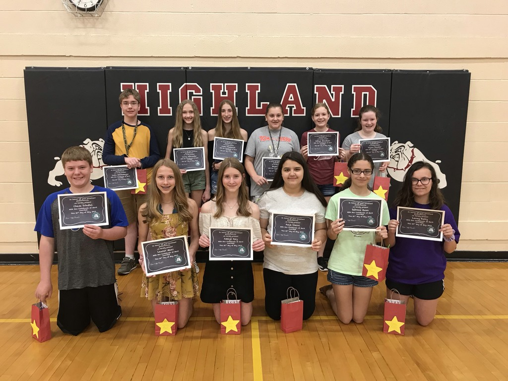 Clean Slate Awards Winners (No behaviors, tardies, missing homework or supplies all year): Front - Chase S., Lauren M., Ashlyn R., Asije U.,Sabrina O., Laney K.; Back: Luke W., Lacey S., Cami F., Megan H., Adilyn G. Taylor D. (Not pictured: Jacob L.)
