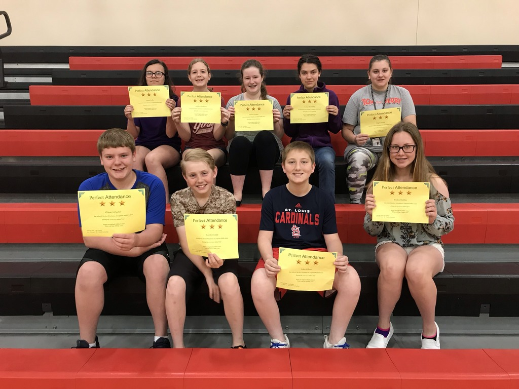Perfect Attendance! Front: Chase S., Hunter K., Luke Z., Bailey M.; Back: Laney K., Adilyn G., Taylor D., Evelyn W., Megan H.