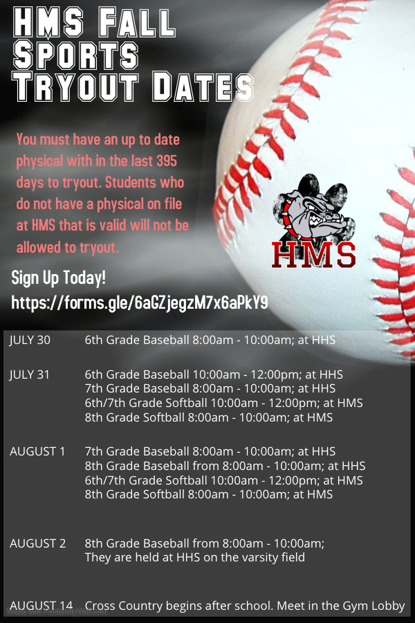 HMS Fall Tryout Dates