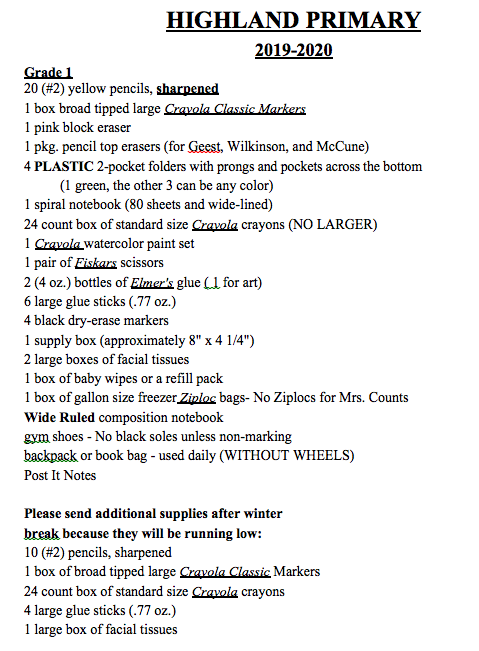 Some of our published lists were incorrect. Here is the updated first grade supply list.