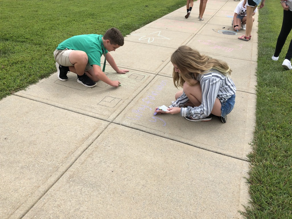 7 Red Students decorated sidewalks with positive messages today during ELP!