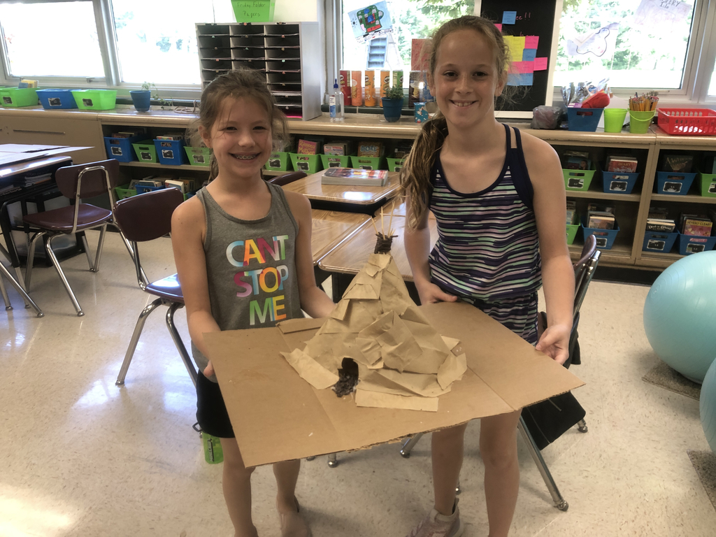 Fifth grade students constructed Native American dwellings as we completed our study of early Americans.