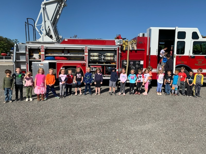 Mrs. Wesselman's class loved seeing the fire truck!