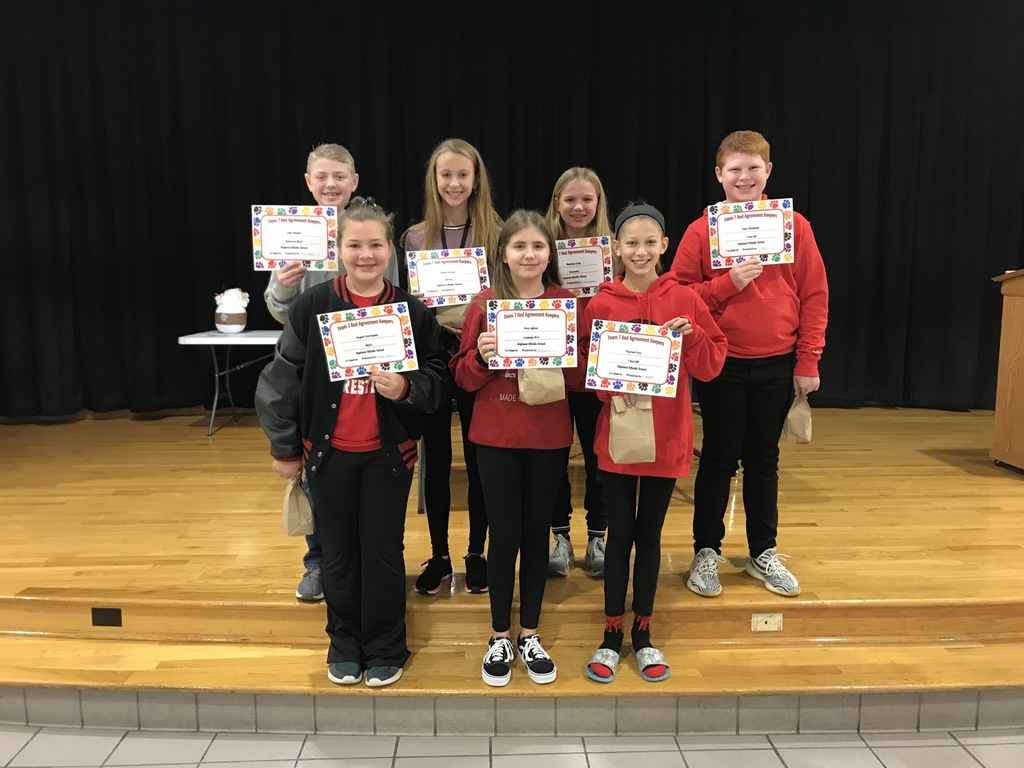 Q1 Awards: Back - Luke S. (Adv. Math), Grace F. (Science), Madison E. (Geography), Nick H. (VIP); Front - August R. (Math), Ava L. (LA), Payton F. (VIP)