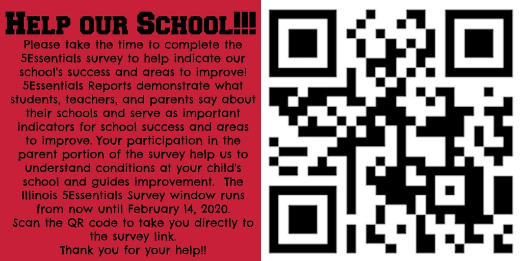 Take a moment to complete the 5Essentials Survey to help indicate our school's success and areas to improve!   https://survey.5-essentials.org/illinois/