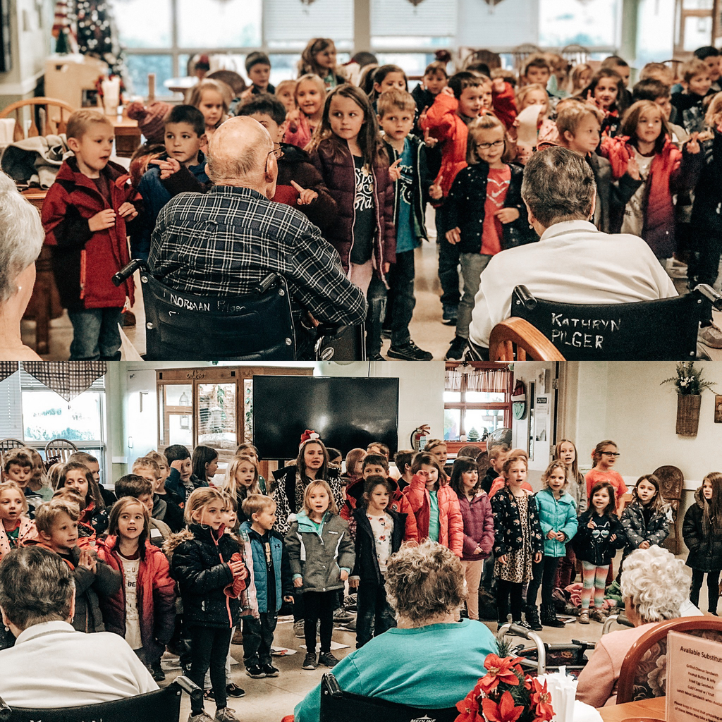 1st grade and kindergarten went to the Hitz Nursing Home today to perform their Christmas program. Come see it on Tuesday, December 17th at 6:30 at Alhambra School!