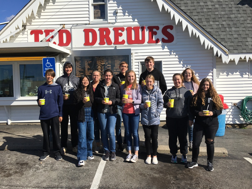 Getting a Treat after the Excellence in Math Competition at St. Louis Community College in Forrest Park Nov. 2, 2019   Row 1:  Gabe Schwarz, Jessica Chen, Mackenzie Myer, Reagan Crask, Addison Crask, Summer Carroll, Audrey Harris  Row 2:  Joe Jansen, Mazzy Robertson, Grant Brinker, David Forys, and Sylvie Carroll.