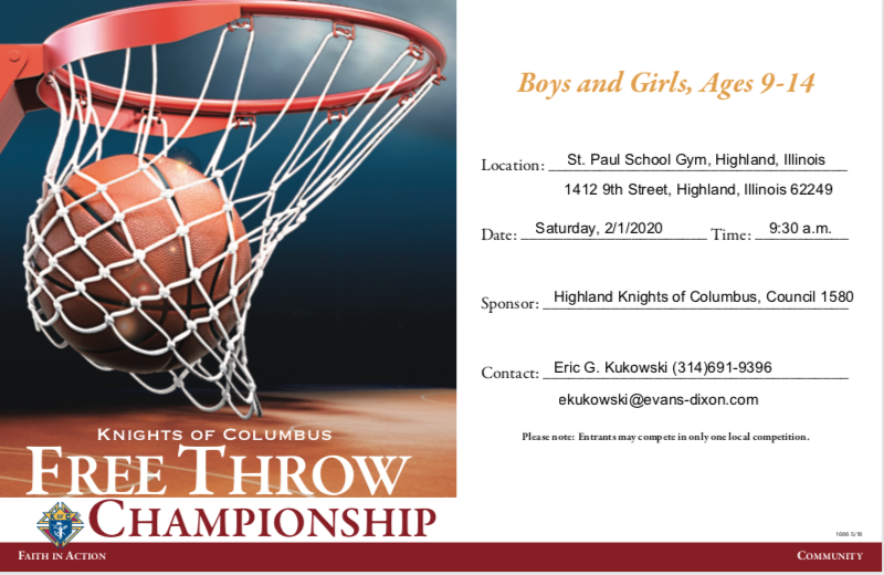 Knights of Columbus Free-Throw Contest Flyer