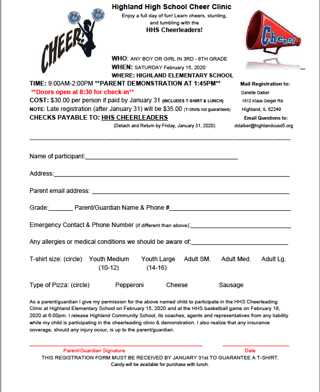 HHS Cheer Clinic for grades 3 - 8