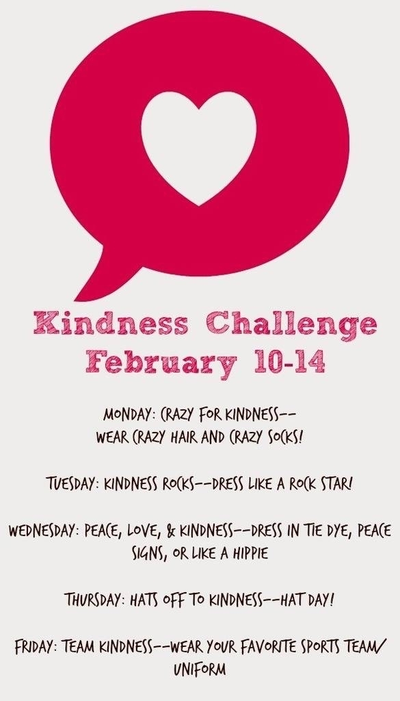 Next week, Grantfork Elementary students and staff will be participating in a Kindness Challenge.  In addition to fun dress up days promoting kindness, students will have a kindness challenge to complete and we will be collecting items from our local food pantry.  It's going to be a great week!