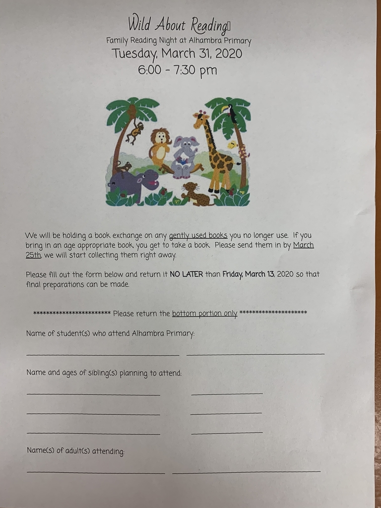 Reading night permission slips will be coming home with your child tonight! If your family would like to join in on the fun, please return this slip by Friday, March 13!
