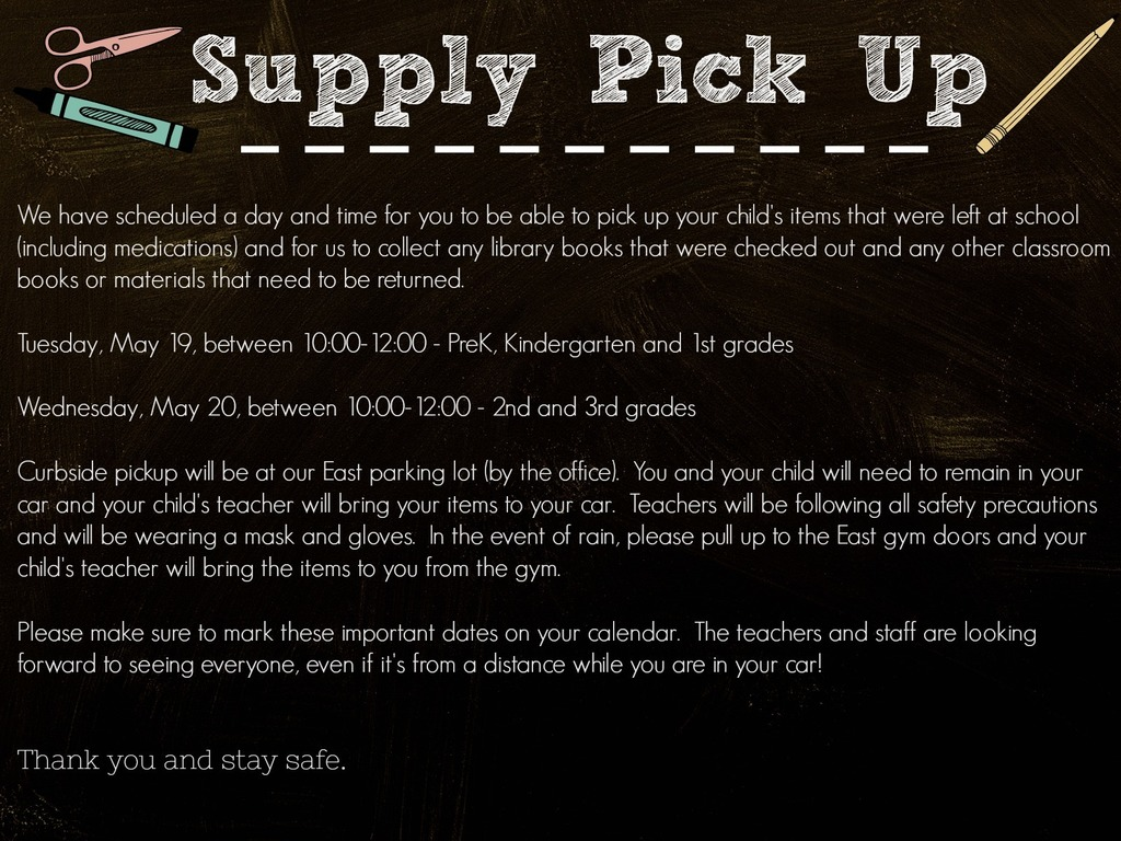 Supply Pick Up Information!